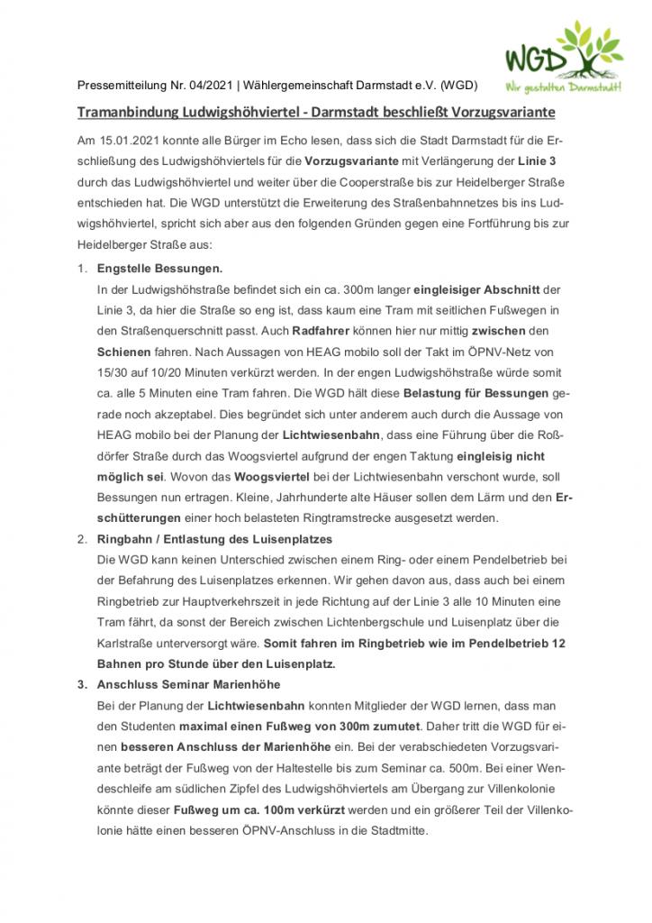 Pressemitteilung vom 30.1.2021