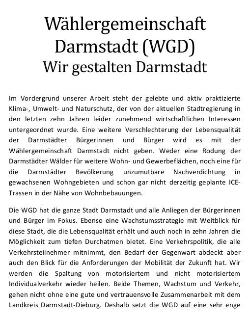 WGD Wahlprogramm zur Kommunalwahl am März 2021 in Darmstadt