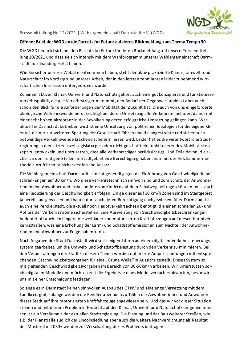 Pressemitteilung vom 8.3.2021