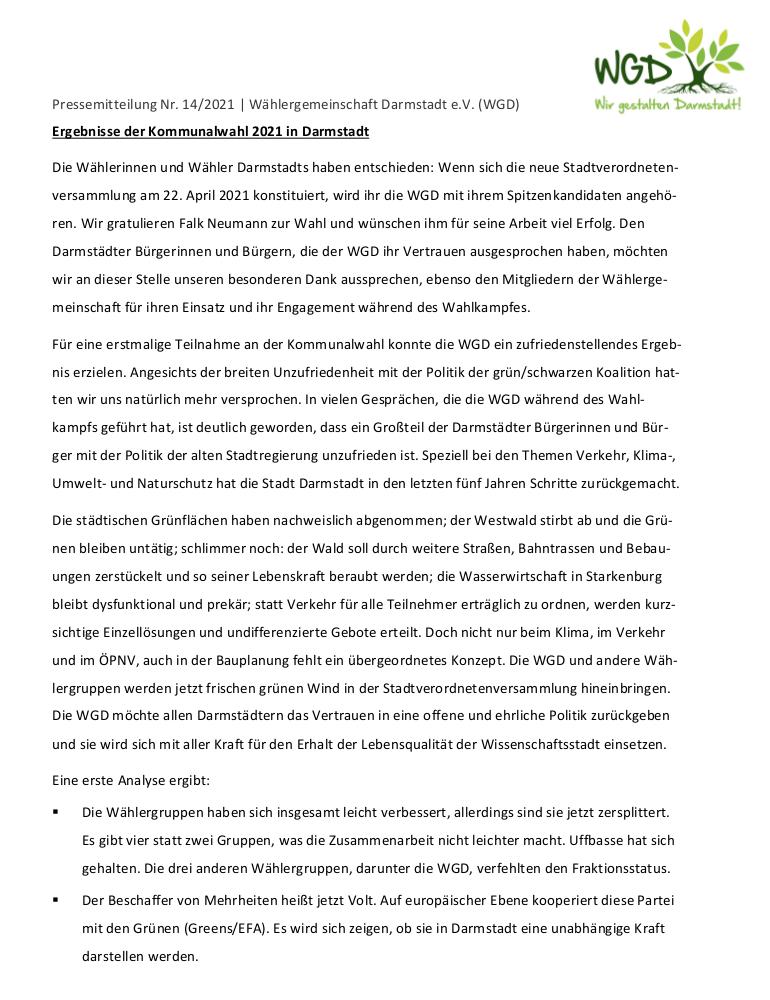 Pressemitteilung vom 21.3.2021