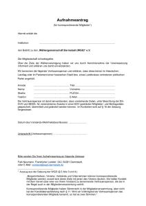 Aufnahmeantrag korrespondierende Mitglieder
